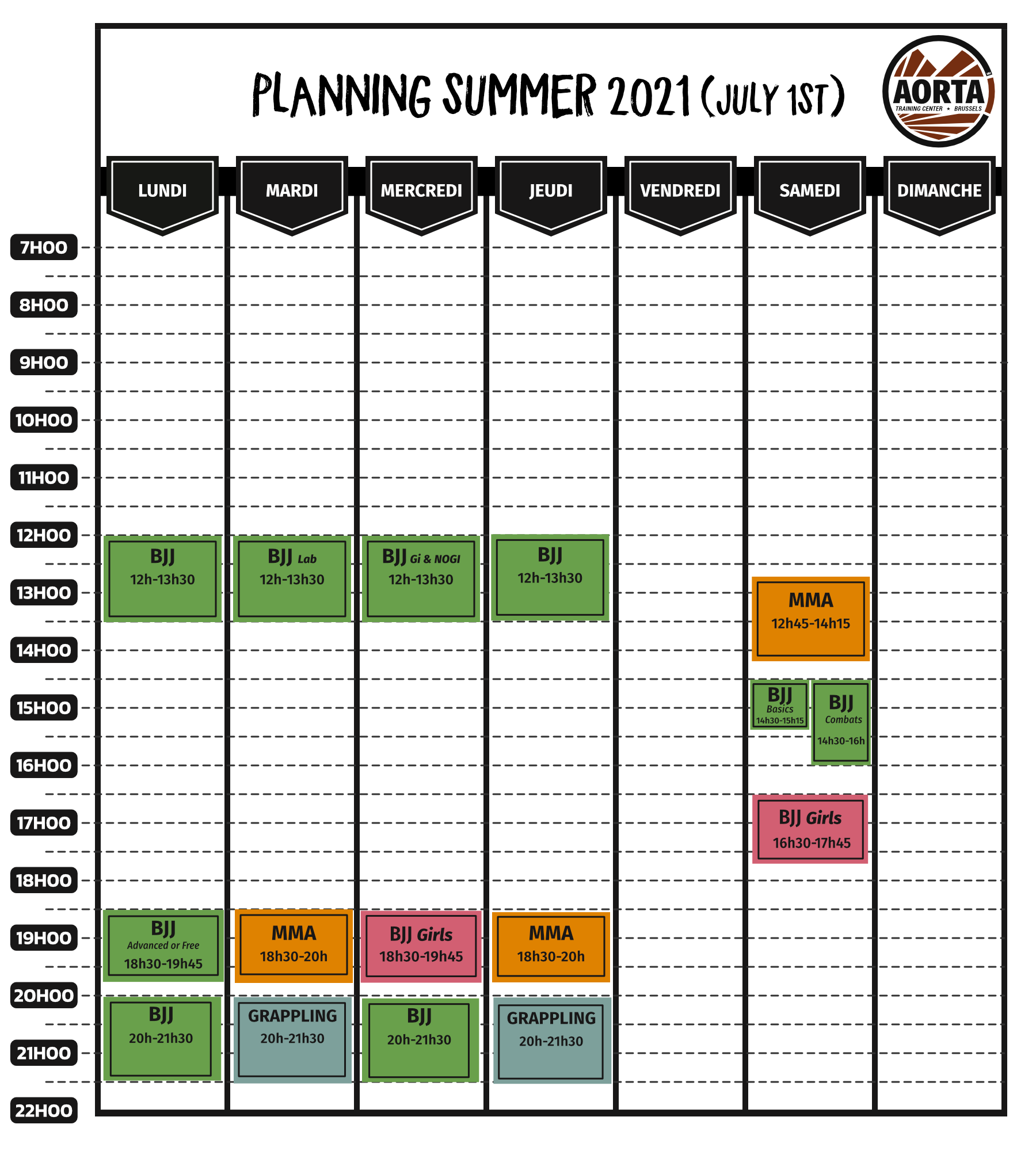 Summer schedule (From July 1st to August 31st 2021)