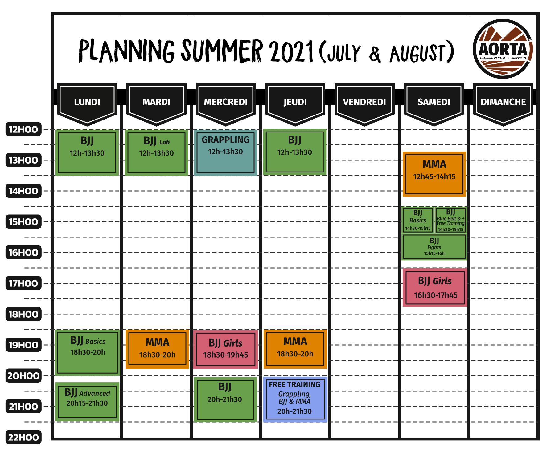 Planning D'été (Du 1er juillet au 30 août 2021)